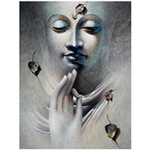 DIY 5D Pintura Diamante Taladro Completo Kit Religión Buda para Adultos por Número Redondo Cristal Rhinestone Bordado Punto de Cruz Lienzo Diamond Painting Arte Craft Decoración del Hogar 20x30cm