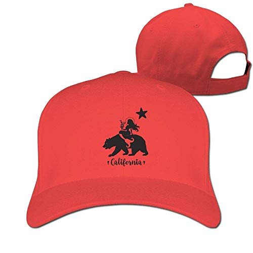 sdfgsdhffer Classic Cotton Hat Adjustable Plain Cap, The Mermaid Sat On The Bear Plain Baseball Cap Adjustable Size Curved Visor Hat