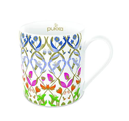 Pukka 5060229014788 Keramikbecher, nachhaltige Teetasse, Kräuter floral bunt, 350ml, Bunt