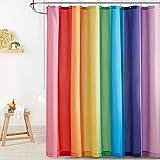 NICETOWN Duschvorhang Antischimmel und Wasserdicht Duschvorhang Badewanne Regenbogen Streifenmuster Duschvorhang mit 12 Haken, 180x180 cm