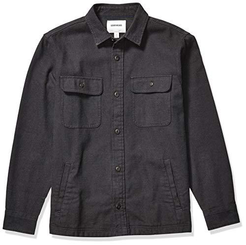 Amazon Brand - Goodthreads Men's Heavyweight Flannel Shirt Jacket, Charcoal Herringbone Medium