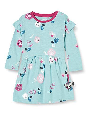 Sigikid Baby-Mädchen Langarm-Kleid aus Bio-Baumwolle, Größe 062-098, spielerisches Hangtoy Kinderkleid, Hellblau/Blumen, 74