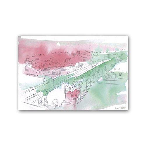CUADRIMAN Oporto Peq Cuadro, Madera, Rosa y Verde Pastel, 60 x 40 cm