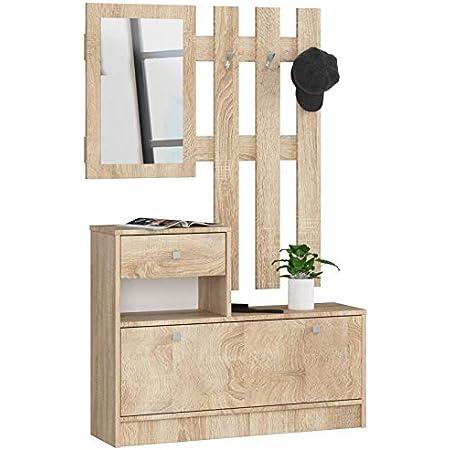 ADGO Ensemble de meubles en bois pour couloir, 90 x 70/100 x 25 cm, armoire à chaussures, cintre, tiroir, miroir, 4 couleurs (chêne Sonoma)