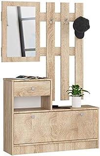 ADGO Ensemble de meubles en bois pour couloir, 90 x 70/100 x 25 cm, armoire à chaussures, cintre, tiroir, miroir, 4 couleu...