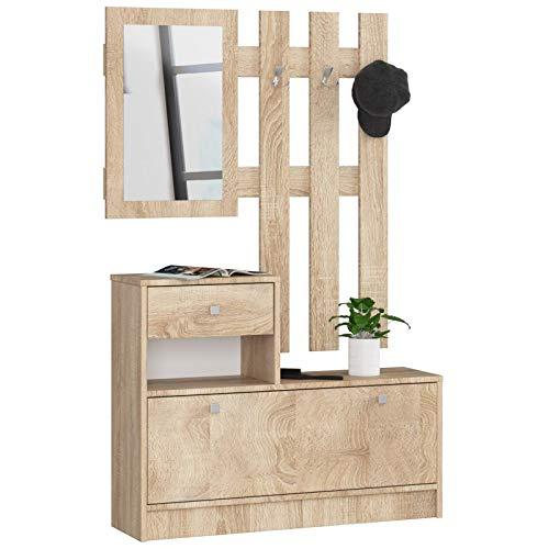 ADGO Set di mobili in legno per corridoio, 90 x 70/100 x 25 cm, scarpiera, appendiabiti, cassetto, spogliatoio, rovere Sonoma