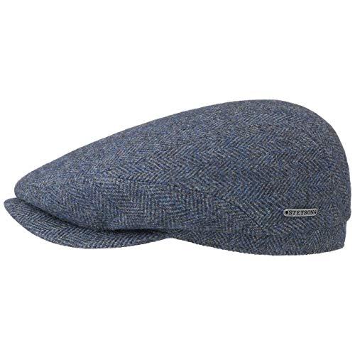 Stetson Belfast Flatcap - Schiebermütze Herren - Schirmmütze mit Wolle - Herrenkappe Herringbone mit Innenfutter (Baumwolle) - Wollcap Herbst/Winter - Flat Cap 63 cm dunkelblau