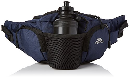 Trespass Vasp, Navy Blue, Adjustable 5L Bumbag / Running Belt with Bottle Holders & Bottles, Blue