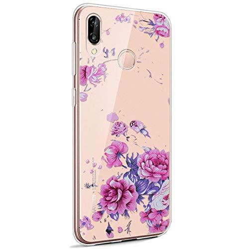 Coque Huawei P20 Lite,Huawei P20 Lite Housse Silicone Etui,Surakey Étui TPU Silicone Souple Coque Clair Transparent Cover Ultra Mince Soft Case Housse Protection pour Huawei P20 Lite (Fleur Rose)