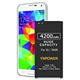 YNPOWER Battery 4200mAh Compatible with Fits Samsung Galaxy S5 G900A AT&T, SM-G900V, G900F, G900H, G900R4, I9600, SM-G900P, SM-G900T, EB-BG900BBC Replacement Battery (24 Month Warranty)
