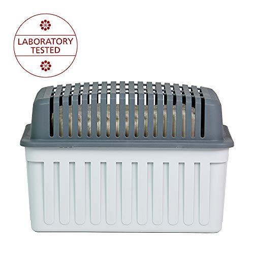 WENKO Luftentfeuchter Grau 1 kg - Raumentfeuchter, für Räume bis 80 m³, 23 x 15 x 15 cm, Hellgrau