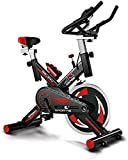 Exercise Bike Adjustable Handlebar and Seat Computer Reads Speed Distance Time Calories Heart Rate Sensors Spinning Bicycle For Home Cardio Workout Sports Bicycle with Kettle-Negro