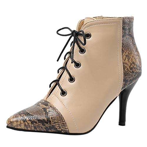 TOPKEAL Botas de Tacones Finos Hebilla con Cremallera para Mujer Elegante Botines Estampada Serpiente Estilete de Otoño