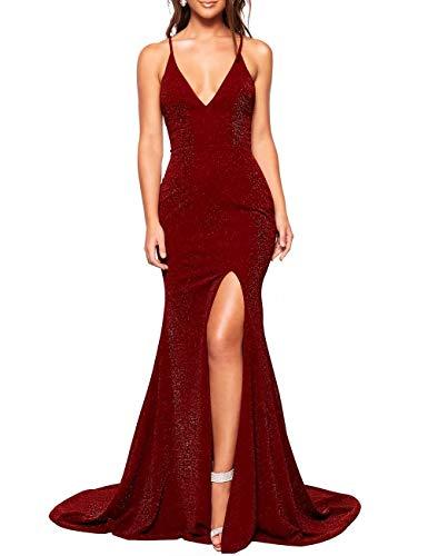 Women's Sparkle Deep V-Neck Bridesmaid Dresses Mermaid Glittery Prom Dresses Formal Gown (Burgundy,02)