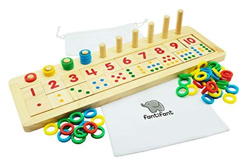fantifant Zählen Lernen! Das große Zahlenlernspiel aus Holz für einen spielerischen Umgang mit Zahlen. Mit hübscher Baumwolltasche zur Aufbewahrung.