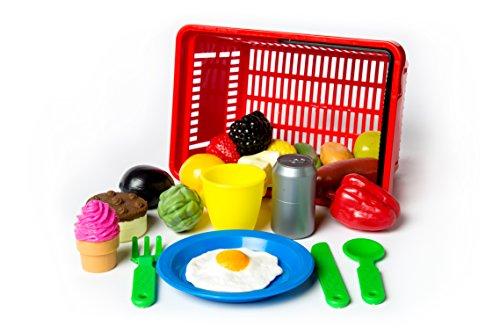 L.A.P. Learn And Play Cestino Spesa giocattolo con accessori, Multicolore