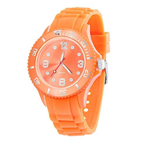 Taffstyle Farbige Sportuhr Armbanduhr Silikon Sport Watch Damen Herren Kinder Analog Quarz Uhr 39mm Orange