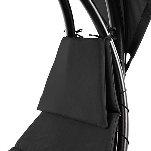 Nexos ZGC34350 Luxus Schwebeliege anthrazit Schwingliege Relaxliege Hängeliege Sonnenliege Hängeschaukel incl. Sonnenschirm, schwarz - 6