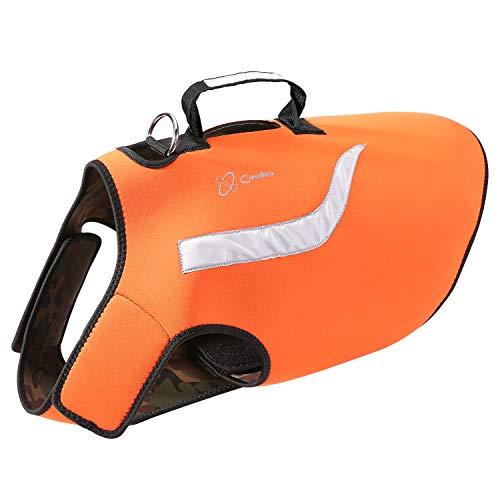 COODEO Dog Hunting Vest, Reversible Reflective Vest Orange Hound Jacket for Protection and Security, 4.5mm Neoprene Dog Vest Both Sides to Wear (XL)