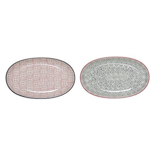 Assiettes ovales Cécile, Rose et Grise, 2 pièces