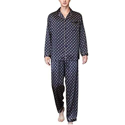 Pijama De Hombre De Manga Larga 100% Seda De Morera Conjunto De Pijamas De Dos Piezas Ropa De Dormir Camisón para El Hogar,Dark Blue,XL
