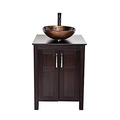 24 Inches Traditional Bathroom Vanity Set in Dark Coffee Finish, Single Bathroom Vanity with Top and 2-Door Cabinet, Brown Glass Sink Top with Single Faucet Hole