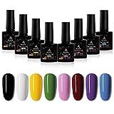 Seisso Esmalte de Gel de Uñas 8 Colores Kit de Esmaltes de Uñas 10ml Colores Dulces de verano Esmaltes Semipermanentes para Decorar Uñas