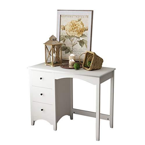 sogesfurniture Modern Schreibtisch mit 3 Schubladen, Hochglanz weiße Tischplatte, Kompakte Kosmetiktisch Schminktisch ohne Spiegel für Arbeitszimmer, Schlafzimmer, 98x45x75cm, BHEU-CYS-ST005