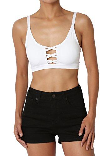 TheMogan Women's Cutout Front Back Cross Strap Pad Bralette Bra Top White S/M
