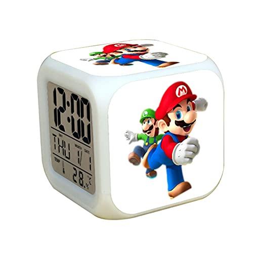 Super Mary Wecker Super Mario Luigi LED Wecker Farbwechsel Licht Kinderzimmer Dekor