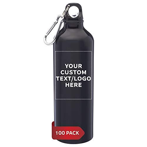 Custom Aluminum Water Bottles in Bulk, 24 oz, 100 pack, Personalized Text, Logo, Reusable, Camping Sports, Met black
