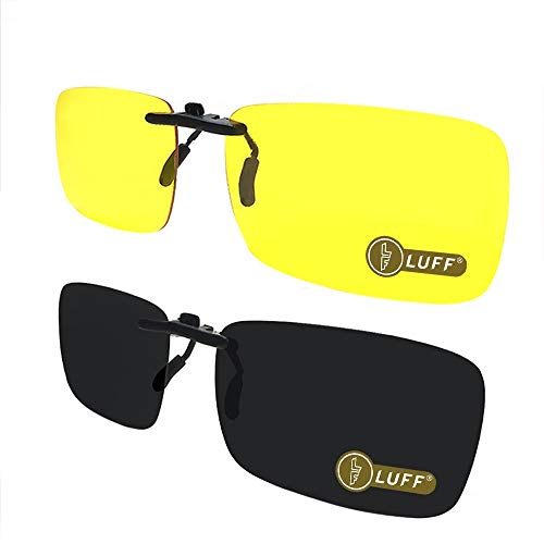 LUFF 2-Pair Polarized/Night Vision Clip on Sunglasses/Myopia Glasses for Driving (Black-Yellow)