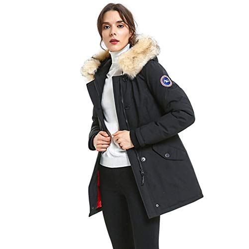PUREMSX Women's Designer Puffer Down Coat Winter Regular Fit Casual Thicken Windproof Heavyweight Multi-Pocket Outwear Parka Coats with Fur Hood Puffer Jackets Gifts for Wife,Black,Large