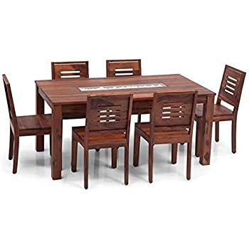 Urbanwood Sheesham Wood Dining Table 6 Seater Dinning Table With 6 Chairs Dining Room Furniture Set Natural Teak Finish Amazon In Electronics