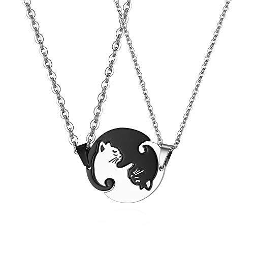 Flongo ペアネックレス 首輪人間 猫ペンダント 猫好き パズル カップル メンズ レディース 黒猫 白猫 男女 シンプル ヒップホップ ステンレス製 プレゼント 記念日 誕生日(2セット)