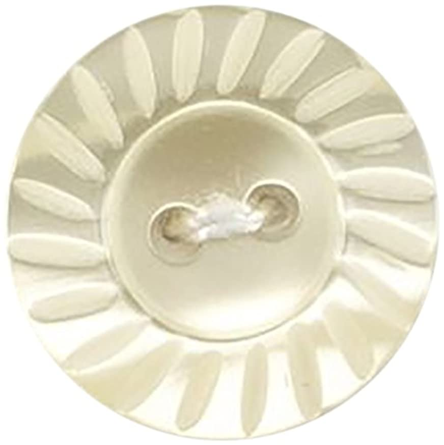 Milward 17.5 mm 3-Piece Flat Button with Bevelled Edge Polyester Buttons, Cream