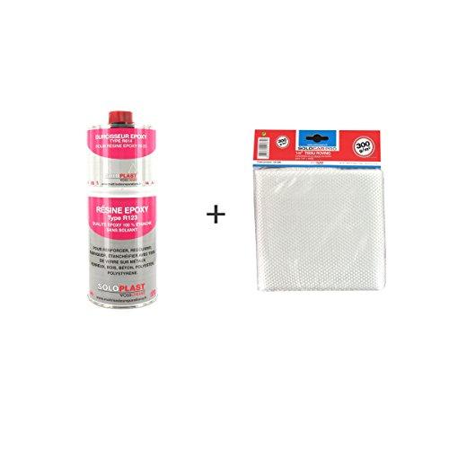 Soloplast Typ R123 Pack mit Epoxidharz, 1kg, mitRoving-Glasfaser-Tuch, 300g/m²