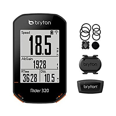 Bryton Rider 320T GPS Bike Computer, Sensor Bundle. 5 Satellite Systems Support. 35hrs Long Battery Life. Support ANT+/BLE Speed, Cadence, heartrate Monitor sensors, ANT+ Power Meter.