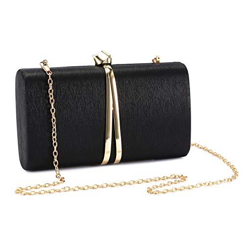 Abendtasche Damen Klein Tasche Kette Handtasche Umhängetasche Clutch Bag für Hochzeit Party Disko - Schwarz