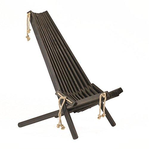 Jardinion Holz-Stuhl Relax-Liege Gartenstuhl Klappstuhl Gartenliege Schwarz Ohne Kissen -
