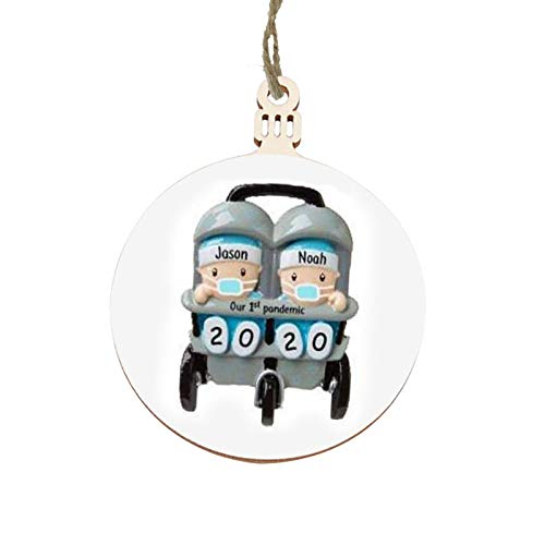 RecoverLOVE Adorno navideño de Bricolaje Personalizado 2020, Primer Adorno navideño del bebé, árbol de Navidad 3D, Colgantes de Madera para Regalos conmemorativos navideños