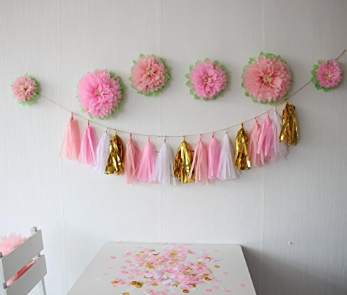 Mybbshower Pinks Flowers Decoration (11''-7'' Assorted) 6 pcs Artificial Tissue Paper Peony Nursery Wall Bridal Shower Centerpiece Baby Girl Birthday Tea Party