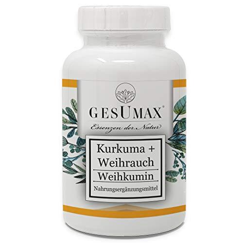 GESUMAX® WEIHKUMIN Kurkuma Extrakt + Weihrauch Extrakt Hochdosiert Kurkuma Kapseln Curcuma 1200mg hergestellt in Deutschland