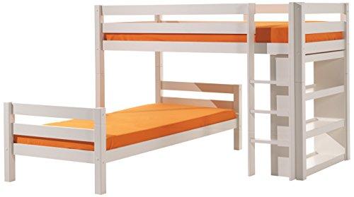 Vipack PISBHK14 Winkel-Etagenbett Pino, Maße 215 x 140 x 215 cm, Liegefläche 90 x 200 cm, Kiefer massiv weiß lackiert