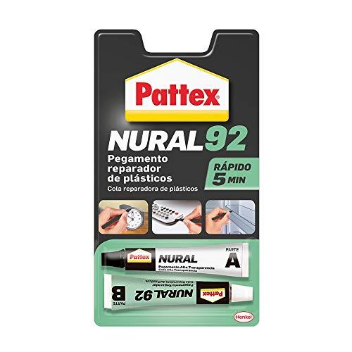 Pattex Nural 92 Pegamento reparador de plásticos, cola transparente para reparar y pegar plástico, rápida y resistente a líquidos y a la temperatura, 2 x 11 ml