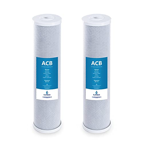 """Express Water – 2 Pack Water Filter Activated Carbon Block Replacement Filter – ACB Large Capacity Water Filter – Whole House Filtration – 5 Micron Water Filter – 4.5"""" x 20"""" inch"""