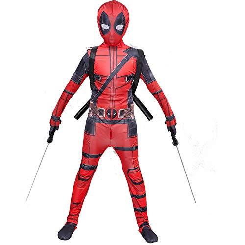 YUANY Traje de Deadpool para niños, Mono, Disfraz de Anime de Halloween para niños, sin Accesorios,Deadpool-120~130cm