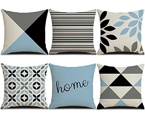 HuiSiFang Set di 6 Federe Cuscini in Cotone Lino, Copricuscini Quadrato Decorativi per Divano Letto, Federa Cuscico Geometrico 45x45cm