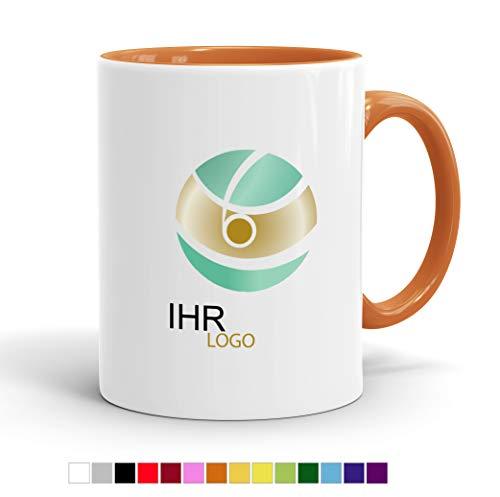 Tasse mit Ihrem Logo Bedrucken - Werbe-Tasse mit Wunsch-Motiv - Digitaldruck Staffelpreise - Spülmaschinenfest (Innen orange)