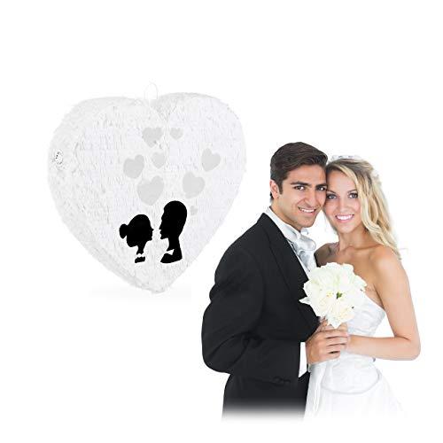 Relaxdays 10025186 Pinata Hochzeit, Herzpinata zum Aufhängen, Hochzeitspinata zum selbst Befüllen, aus Papier, Piñata, weiß